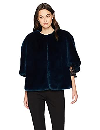 Adrianna Papell Women's Faux Fur Jacket, Midnight, S