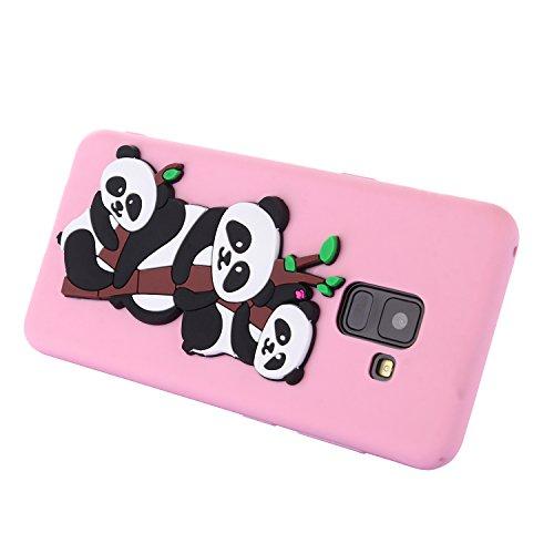 Funda para Samsung Galaxy A8 2018 , IJIA Puro Rojo Adorable Panda TPU Silicona Suave Cover Tapa Caso Parachoques Carcasa Cubierta Teléfono De Vuelta Shell Case para Samsung Galaxy A8 2018 (5.6) Pink