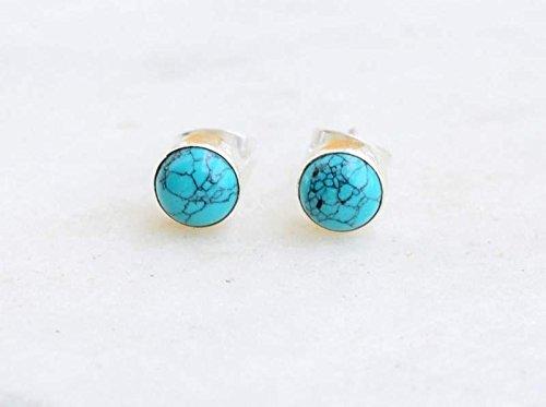 Tibetan Turquoise Stud Post Earring 925 Sterling Silver Gemstone Earring 6 MM Round Girl Women Gift