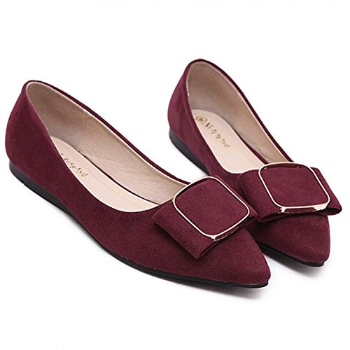 shoes office mouth shoes shoes casual pregnant wine flat shallow comfortable Red women Women's shoes FLYRCX work wqfSHPzR