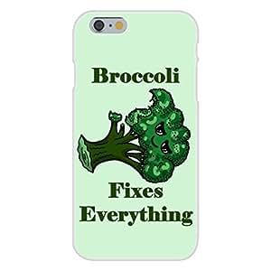 "Apple iphone 6 plusd 5.5 Custom Case White Plastic Snap On - ""Broccoli Fixes Everything"