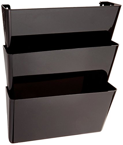 Deflecto 93604 Sustainable Office DocuPocket, Recycled Content, Wall File Organizer, Stackable, Letter Size, Black, Set of 3, 13