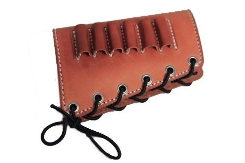 - vsdfvsdfv Leather Cartidge Buttstock Shotgun Shell Holder, Hunting Buttstock Ammo Holder Pouch Bag for Rifles, Shotgun Shell Pouch Shell Holder Stock (Brown, 45-70)