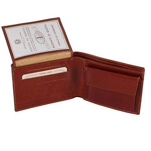Dark Leather Tuscany Brown wallet 3 leather Dark pocket men fold with Exclusive coin Brown for Odqda