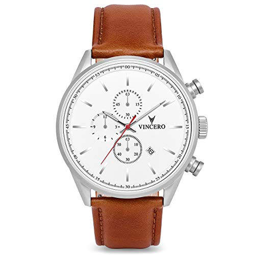 Vincero Luxury Men's Chrono S Wrist Watch - Top Grain Italian Leather Watch Band - 43mm Chronograph Watch - Japanese Quartz Movement (Matte Silver/White) ()