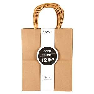 "Brown Kraft Bag, Birthday Party Gift Favor Bag Set - 12 Count - Medium, 8"" x 10"" x 4.5"""
