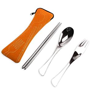 Eforcase Three Style Travel Portable Stainless Steel Spoon Fork Chopsticks Tableware Set with Pull Chain Case (Orange)
