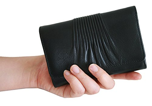 Genuine Leather Midi Ruched Front Wallet with RFID or ANTI THEFT Protection Lining