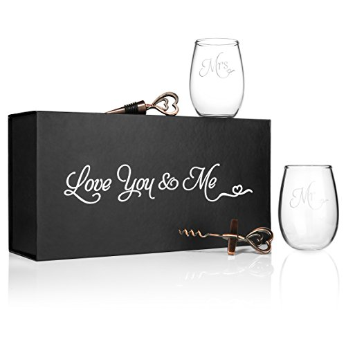Mr. and Mrs. Wine Glasses with Opener and Stopper in a keepsake (Glass Gift Card)
