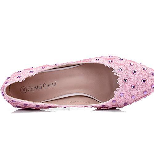 Di Strass Sposa Rosa Pink Tacchi EU36 Alti Punta Moojm Pizzo Donne Scarpe Sandali Da Alti Tacchi Sposa Da Scarpe gnBq4wI70