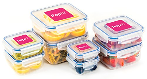 Popit Food Storage Containers 16 Piece Set, 100 Leak Proof - Microwave, Freezer and Dishwasher Safe - Little Big Box, by Popit (Refrigerator Storage Containers)
