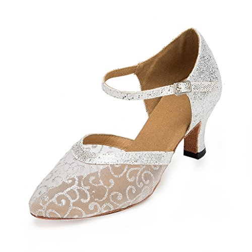 CRC Womens Stylish Round Toe Mesh Sparkle Material Synthetic Ballroom Morden Tango Party Wedding Professional Dance Shoes Silver SBmg63Ah