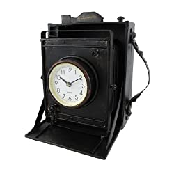 Reproduction Metal Vintage Camera with Bellows Clock
