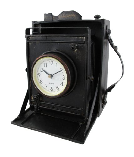 Reproduction Metal Vintage Camera with Bellows Clock by Things2Die4