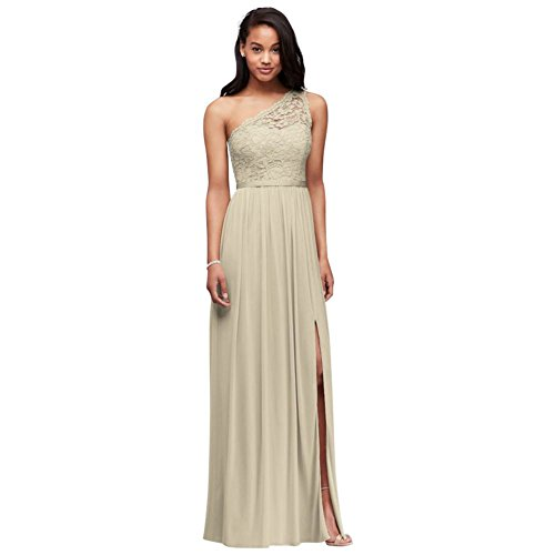 Long One Shoulder Lace Bridesmaid Dress Style F17063, Champagne, 4 ()