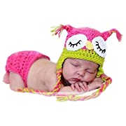 MSFS Baby Photography Prop Crochet Knitted Owl Hat Diaper Infant Christmas Gifts