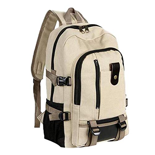 (Travel Rucksack Multifunctional Travel Bucket Backpack Men Rugzak 3 Colors Canvas College Student School Backpack,Khaki)