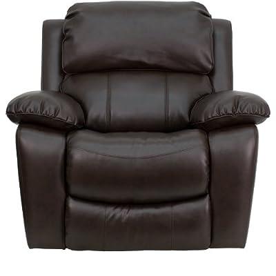 Flash Furniture MEN DA3439 91 BRN GG Dark Brown Leather Rocker Recliner