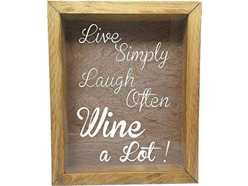 Wooden Shadow Box Wine Cork/Bottle Cap/Tickets 9x11 - Live Simply Laugh Often Wine A Lot (Summer Oak w/White)