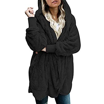 Dokotoo Womens Long Sleeve Solid Fuzzy Fleece Open Front Hooded Cardigans Jacket Coats Outwear with Pocket: Clothing