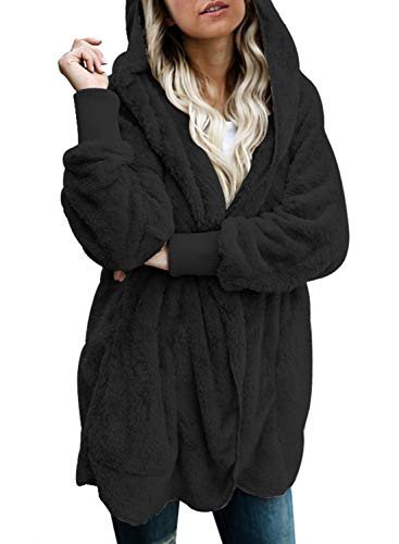Dokotoo Womens Casual Ladies Fashion Casual Chunky Solid Fuzzy Winter Fall Open Front Long Sleeve Fluffy Hoodies Fleece Cardigan Sweater Jacket Coats Outwear Black Large