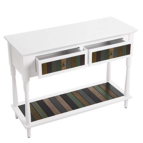 VASAGLE Console Table with 2 Large Colourful Drawers, Country Style Entryway Table with 1 Shelf, for Living Room, Dining Room, Hallway, Assembly Without Tools, Solid Wood Legs, White - Drawer Console