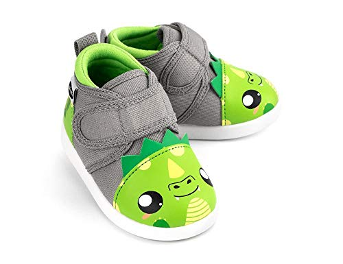ikiki Dragon Squeaky Shoes for Toddlers w/Adjustable Squeaker, Green Girl or Boy Shoes (Size 7, Leo Longfire)