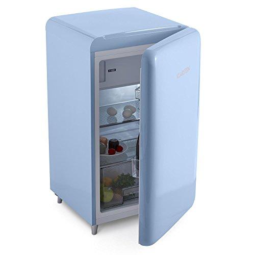 Klarstein PopArt Pink Retro-Kühlschrank mit Gefrierfach kompakte Fifties-Style Gefrier-Kombi (A++,50ziger Jahre Retro-Look , 108 l Fassungsvermögen) blau
