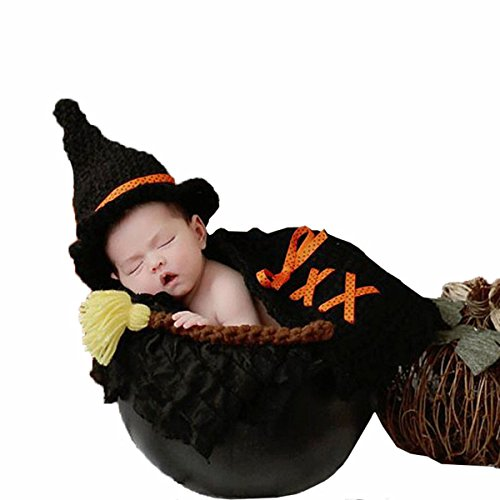 M&G House Unisex Newborn Baby Photography Props Handmade Crochet Knitted Halloween Witch Hat Cloak Outfits -