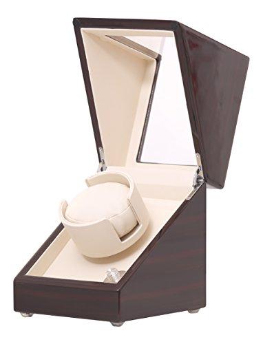 Pateker Ebony Wood Finish Single Watch Winder, White Leather Display Box Case [100% Handmade]