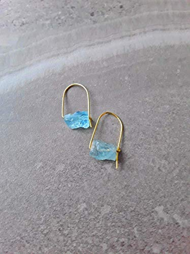 Aquamarine Hoop Earring - Raw Aquamarine Modern Minimalist Drop Hoop Earrings Gold