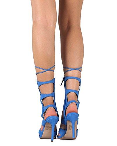 Breckelles Ed58 Donne Similpelle Peep Toe Suola Gilly Cravatta Stiletto Sandalo Blu