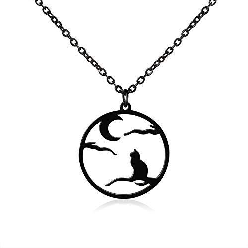 Blinkingstare Crescent Halloween Moon Cat Necklace - Stainless Steel Black Branch Faithful Love Pendant Necklaces, for Women Girls