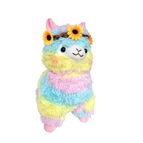 Sunny World Yellow Flowers Colored Ribbon Alpaca Llama Toy -17.7