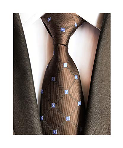 Dark Chocolate Brown Holiday Neckties Check Silk Tie Suit Fitness Dating For Men Youth - Suits Designer Wholesale
