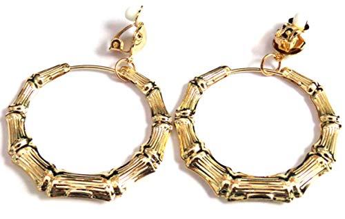 Clip-on Earrings Gold Plated Bamboo Hoop Earrings 2 inch Hoops