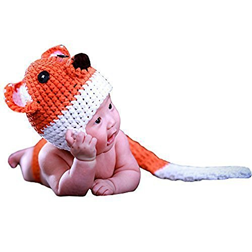 [JISEN Baby Newborn Photography Props Handmade Cute Fox Set Crochet Knitted Unisex Baby Cap Outfit Photo] (Cute Halloween Costumes For Newborn Babies)
