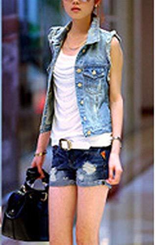 Blau Ropa Corto Primavera Jacket Vaqueras Vaqueros Slim Mujer Denim Solapa Otoño Abrigos Elegantes Mangas Chaleco Sin Vest Fit Basic Vintage Moda Rasgado De gBBrdqvTw