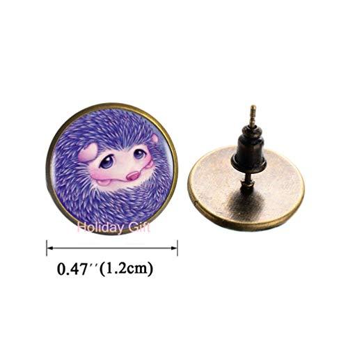 Holiday gift Fashion Earrings,Purple Cute Hedgehog Stud Earrings Choker Statement Silver Earrings for Women Dress Accessories-Abaicer Jewelry,H039