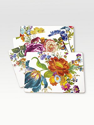 MacKenzie-Childs Flower Market Placemats - White 12'' wide, 16'' long - Set of 4
