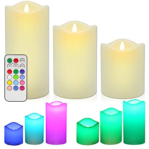 LED Flameless Candles, ANKO Multi Color Changing Battery Operated; Ivory Wax Melted Edges Candles with Timer and Remote Control (Set of 3)