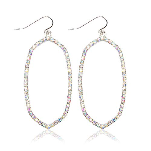 Sparkly Simple Lightweight Geometric Open Hoop Drop Earrings - Cut-Out Dangles Teardrop/Pear/Pointy Oval/Marquise/Circle Cubic Zirconia Crystal/Multi Rhinestone/Acrylic Pearl (Oval - Silver AB)