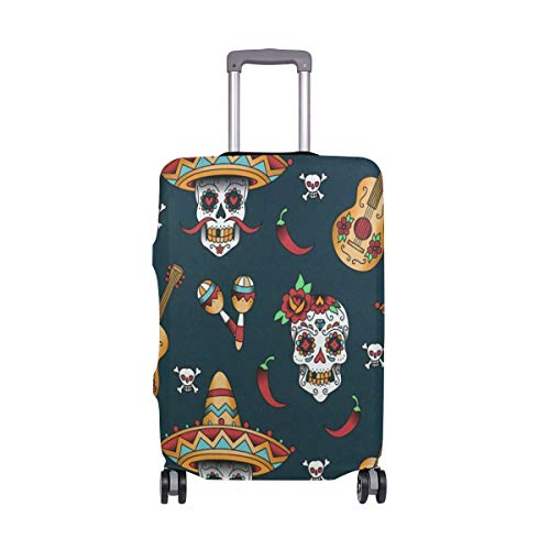 4aed13b7ca7c Suitcase Cover Mexican Skulls Guitar Luggage Cover Travel Case Bag  Protector for Kid Girls