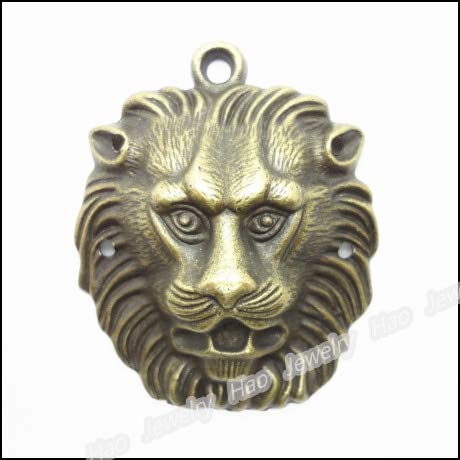 Vintage Style Charm Lion Pendants | Antique Bronze Zinc Alloy Fit Bracelets, Necklaces | DIY Metal Findings (6pcs)]()