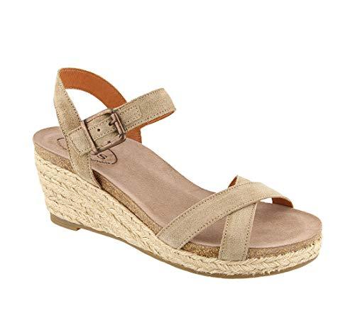 Taos Footwear Women's Hey Jute Taupe Suede Sandal 7-7.5 M US