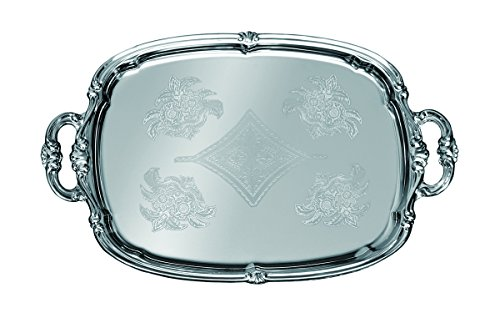 Update International CT-1813H Embossed Serving Tray Oblong W Handles, 18 x 13 In, Chrome Plated Stainless Steel