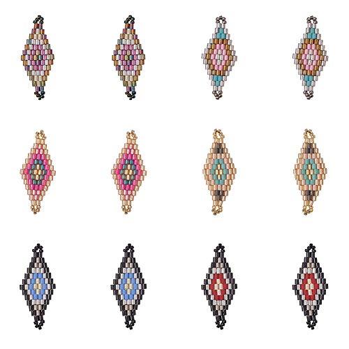 (PH PandaHall 12pcs 6 Colors Handmade Rhombus Miyuki Japanese Seed Beads Links Charms Pendant Dangle Earrings for Earring Necklace Jewelry)