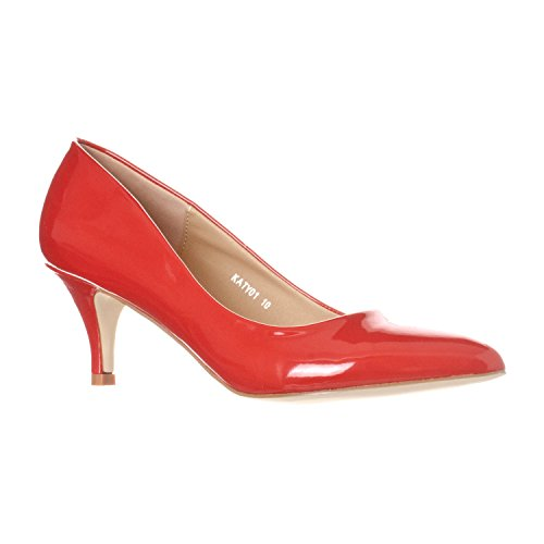 Riverberry Women's Katy Pointed, Closed Toe Low, Kitten Heel Pumps, Red Patent, - Pointed Toe Red Patent Heels
