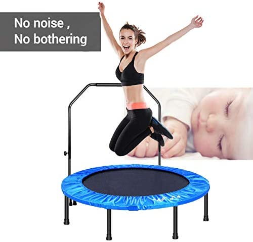 MOVTOTOP Indoor Fitness Trampoline Folding 48 Inch with Adjustable Handrail and Safety Pad, Exercise Trampoline Rebounder for Kids Adults Blue