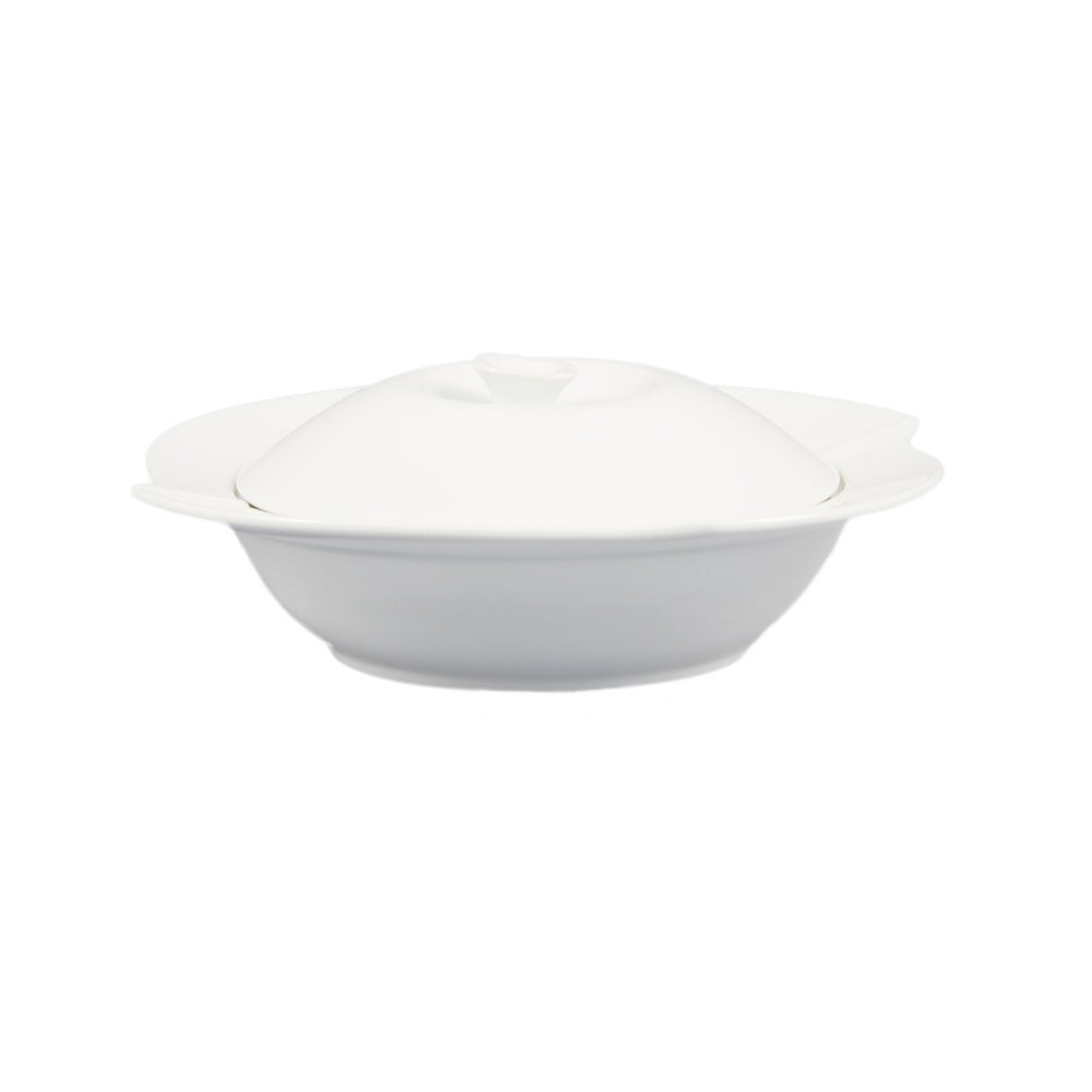 CAC China COL-120 30-Ounce Porcelain Flower Shape Pasta Bowl with Lid, 11-1/2 by 2-Inch, Super White, Box of 8